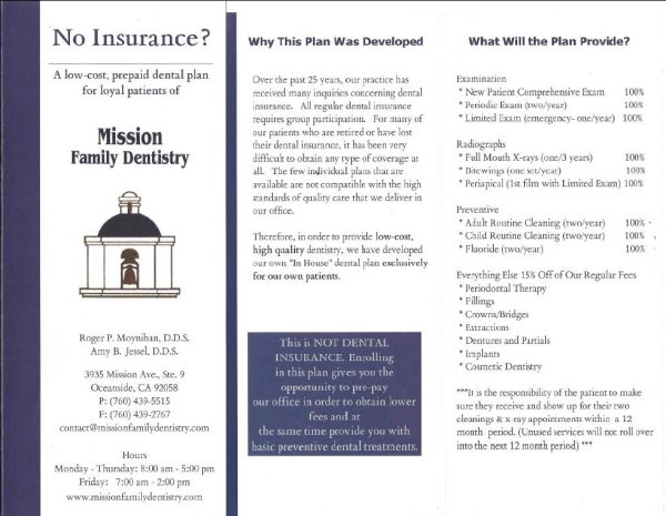 No insurance? Front page brochure of dental membership plan for patients without insurance